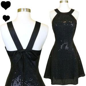 Vintage 80s 90s Black Sequin Party Dress M L